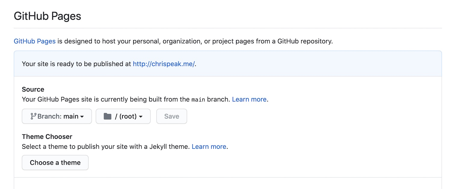 Github Pages repo selection control panel