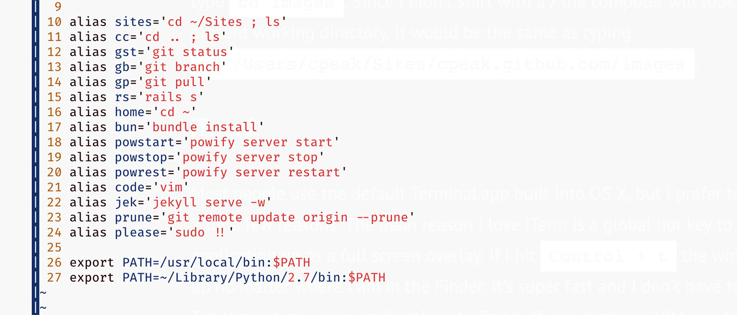 Example bash profile shortcuts